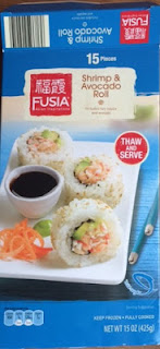 Packaging of Fusia Frozen Shrimp and Avocado Roll, from Aldi