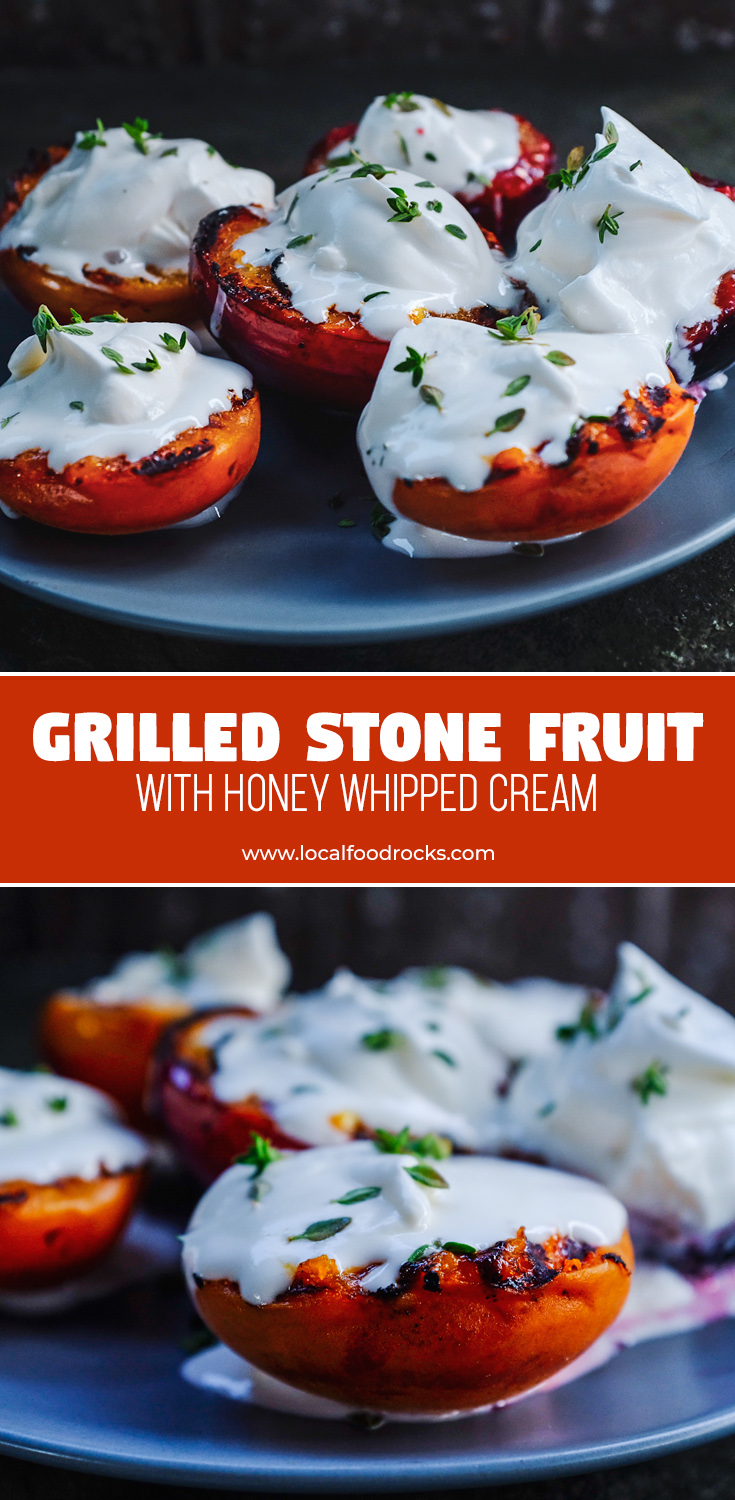 Hold on to the taste of summer with this simple dessert that makes the most of sweet, juicy stone fruit topped with honey whipped cream and thyme.