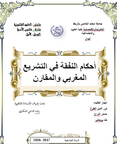 النفقة في مدونة الاسرة دور القضاء في النفقة دور القضاء في الحضانة أحكام النفقة في التشريع المغربي والمقارن pdf