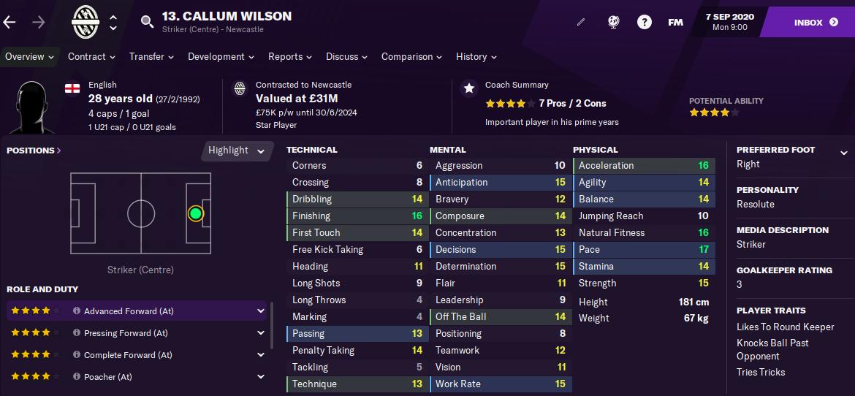 FM21 Callum Wilson