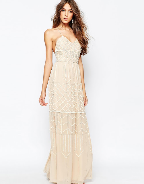 frock frill embellished maxi dress, blush embellished cami maxi dress,