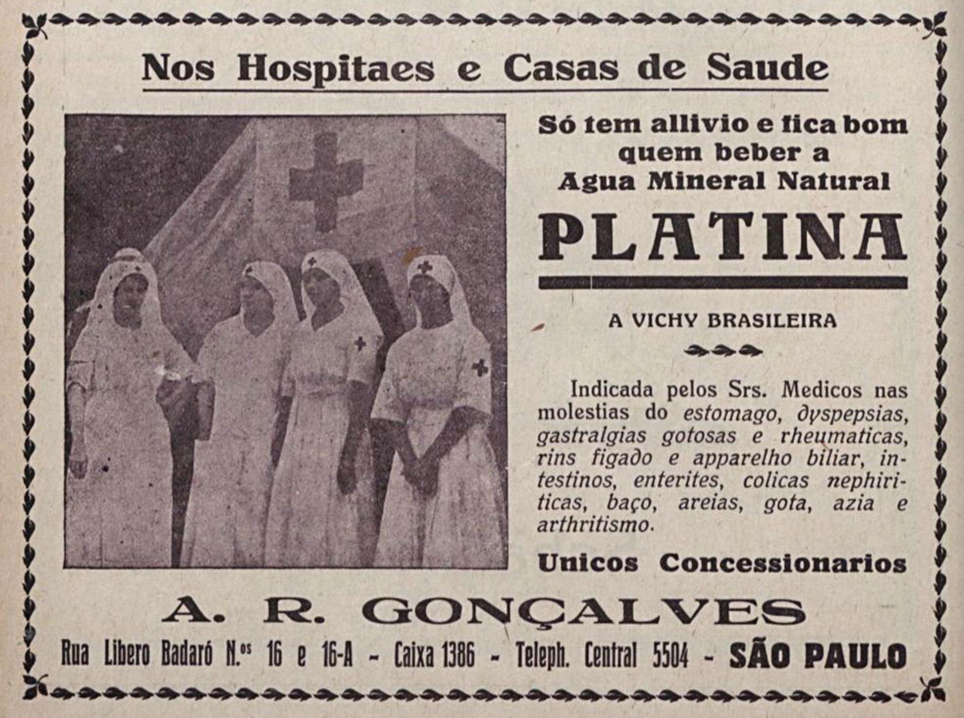 Propaganda antiga da Água Mineral Platina veiculado no ano de 1920