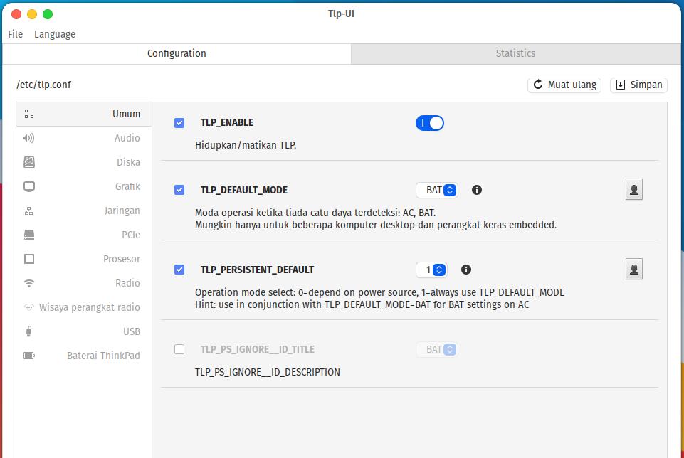 Install TLP GUI, cara mengatur TLP secara GUI, atur TLP tanpa terminal, atur TLP dengan Mudah