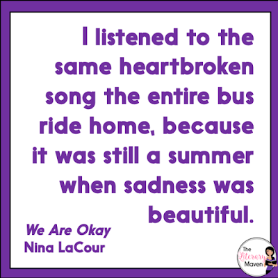 In We Are Okay by Nina LaCour, Marin is raised by her grandfather after her mother's death. She has no other family and her grandfather shared little with her about her mother as she was growing up. Just before Marin is set to head off to college, her grandfather, who had worsening health issues, disappears. Read on for more of my review and ideas for classroom application.