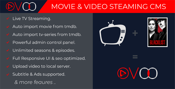 OVOO v2.5.1 - Movie & Video Streaming CMS with Unlimited TV-Series