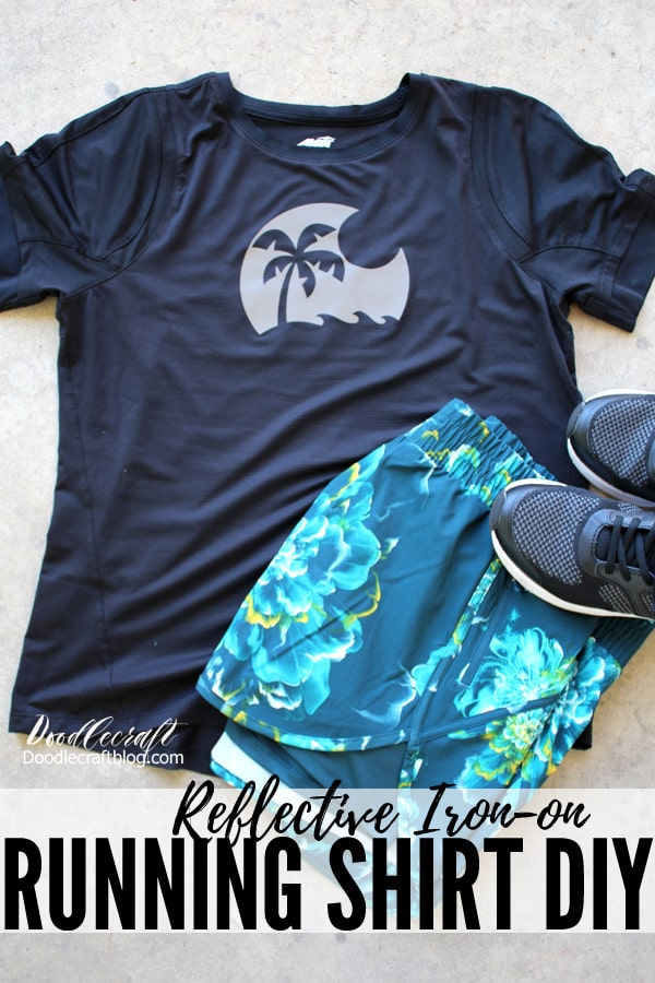 Island in the Sun Reflective Iron-On Vinyl Running Shirt DIY made with light reflecting heat transfer vinyl and the Cricut Maker & EasyPress 2 heat press.