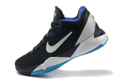 The color is black ,linning is blue ,sole with color white and blue ,black  .The nike swoosh and kobe logo on the retro shoes kobe VII(7) is white .