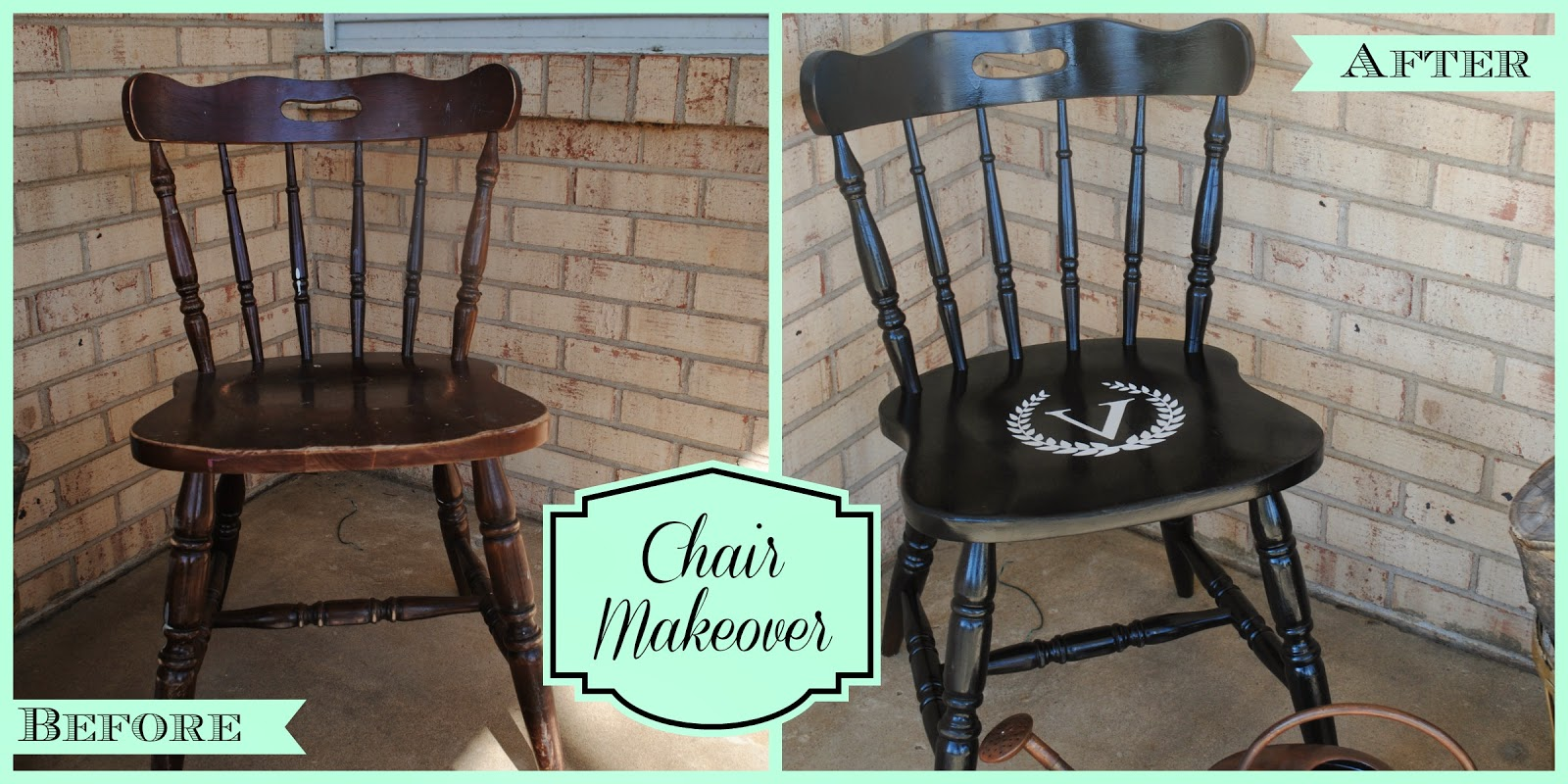 Chair, makeover, wood, spray paint, vinyl
