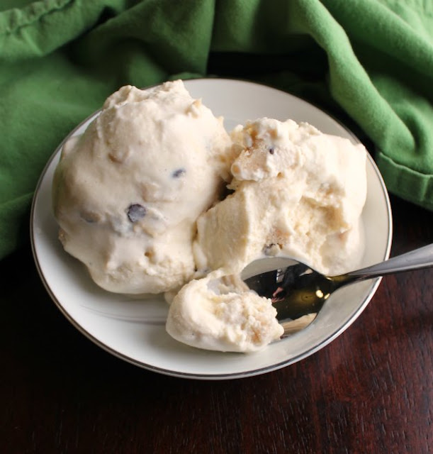 bowl of chocolate chip cookie dough ice cream with spoon