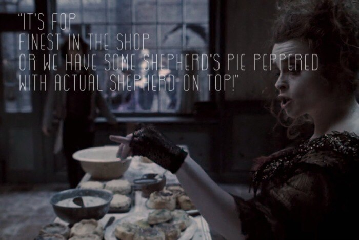 Mrs. Lovett singing about Shepherd's Pie...with actual shepherds on top from Sweeney Todd