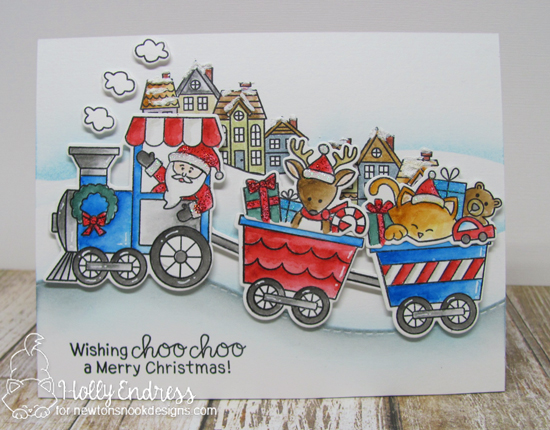 Christmas Train Card by Holly Endress | All Aboard for Christmas Stamp Set by Newton's Nook Designs #newtonsnook