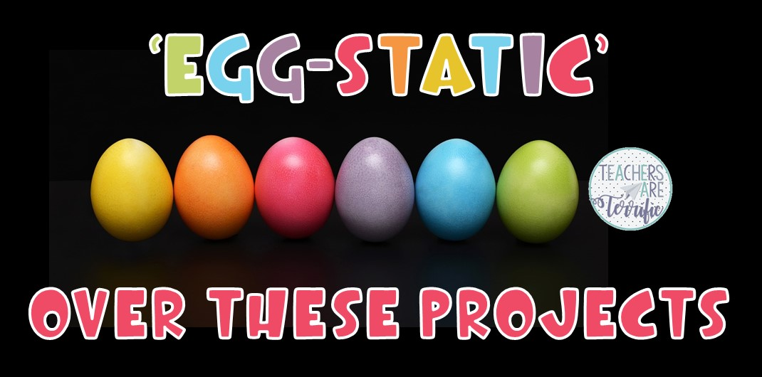 It's  exciting Egg Challenges! This includes four STEM Challenges that all use eggs as part of the structure or drop. Take a look at this blog post for the details!