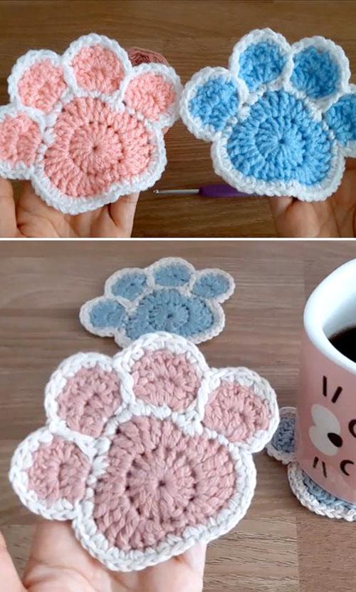 Crochet Paw Coaster - Tutorial