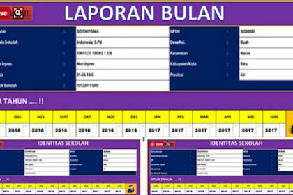 Aplikasi laporan Bulanan Sekolah SD, SMP, SMA Format Excel