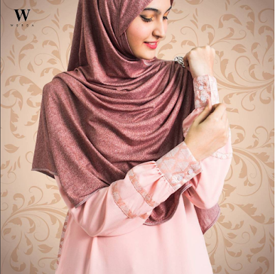 Jubah Maryam Peachy Pink Closed Up