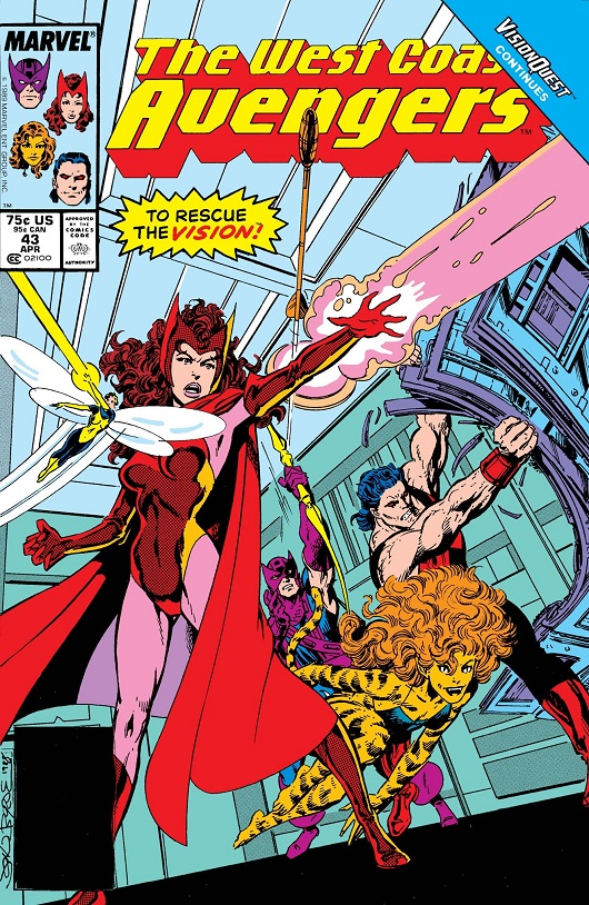 Cover of West Coast Avengers #43 featuring Scarlet Witch, Wasp, Tigra, Wonder Man and Hawkeye/Mockingbird and