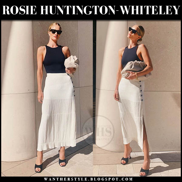 Rosie Huntington-Whiteley in black tank top and white chloe midi skirt. Celebrity outfit august 13