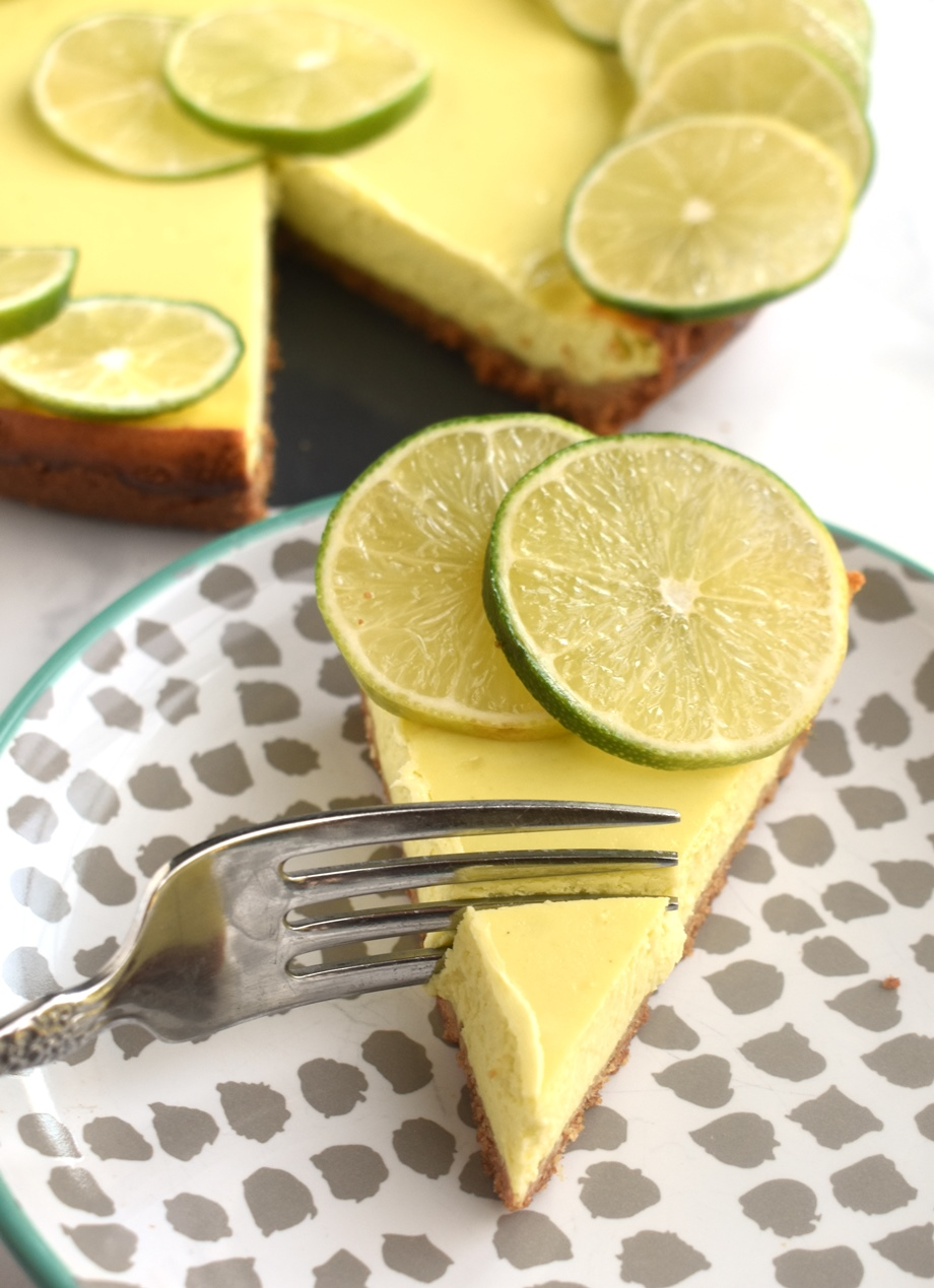 slice of key lime greek yogurt cheesecake