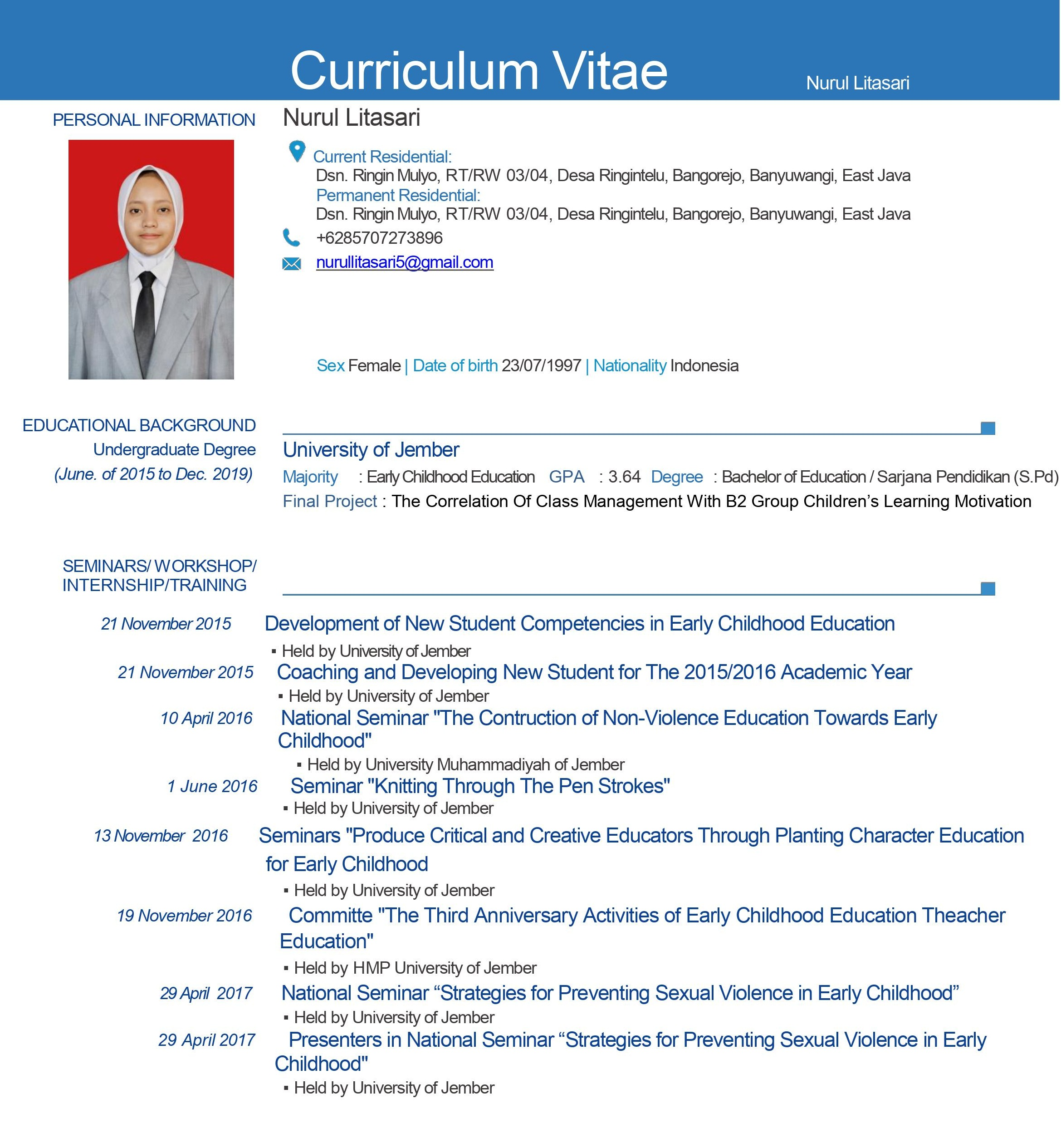 10 Contoh Cv Curriculum Vitae Daftar Riwayat Hidup Lamaran Kerja Menarik