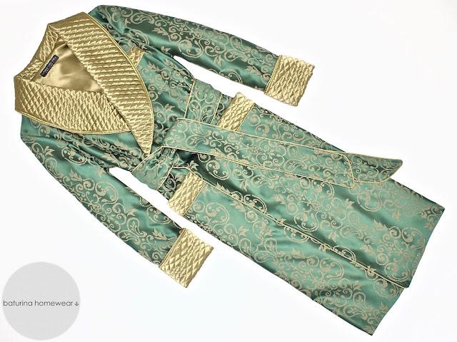 mens silk dressing gown dark green gold paisley robe smoking jacket vintage old fashioned victorian housecoat english gentleman