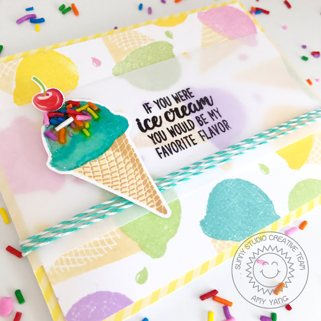 Sunny Studio Stamps: Two Scoops Ice Cream Stamped Background Card by Amy Yang