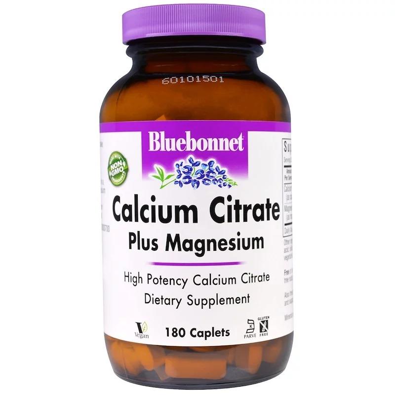 Bluebonnet Nutrition, Цитрат кальция с магнием, 180 капсулообразных таблеток