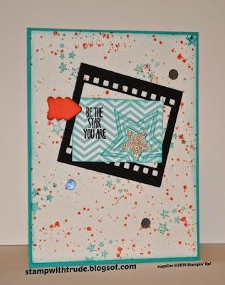 stampwithtrude.blogspot.com, Stampin' Up! birthday card, Gorgeous Grunge, Be the Star stamp sets, On Film framelit die set