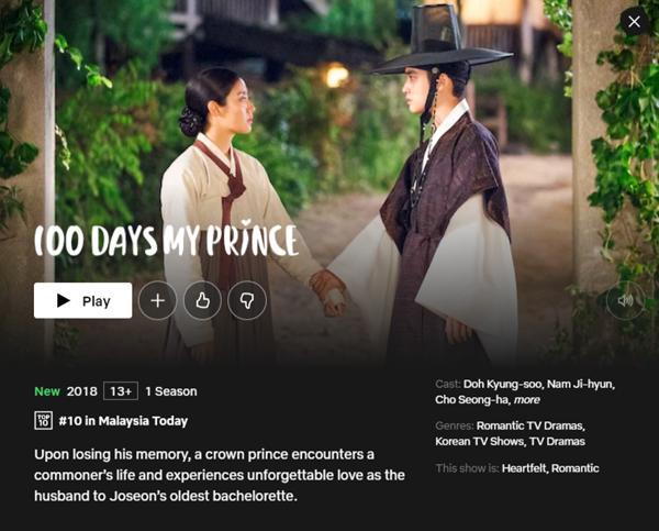 Popular Korean Drama on Netflix 100 Days My Prince