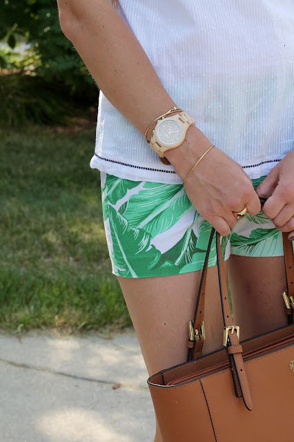 palm print shorts, white swiss dot tank, 4Eursole wedges, JORD watch, Tory Burch tote