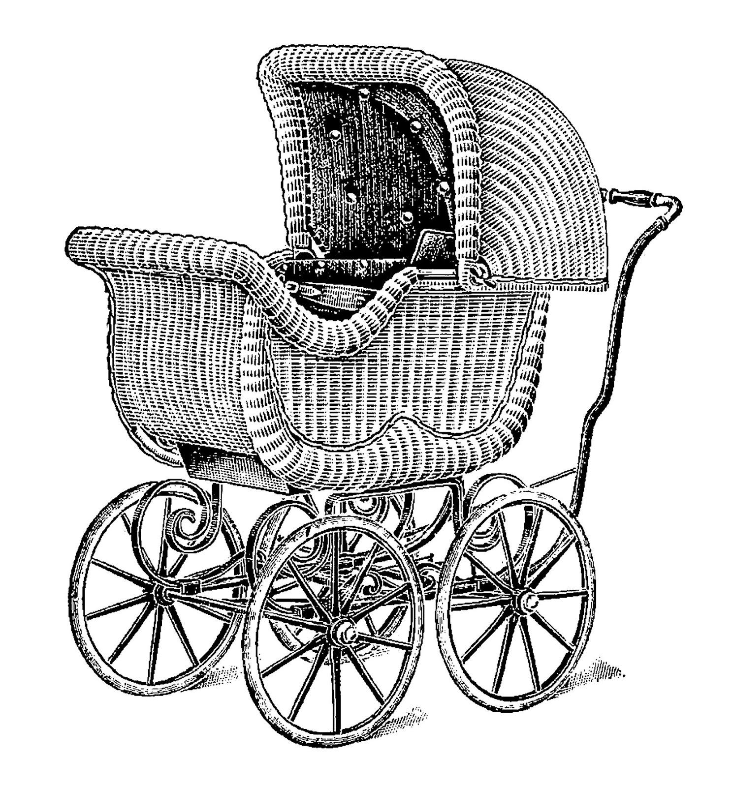 digital stamp design vintage baby carriage wicker digital clip art