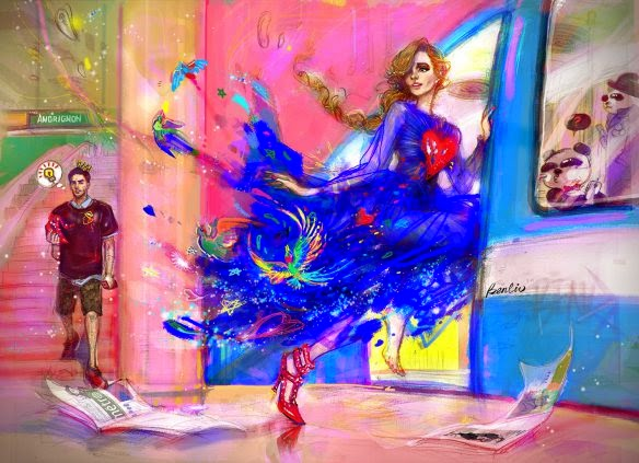 Cinderella in blue-heart Valentino dress, Ben-Liu, Draw-A-Dot, fashion illustration, Montreal Metro, Subway station Berri UQAM, panda BENDA in metro
