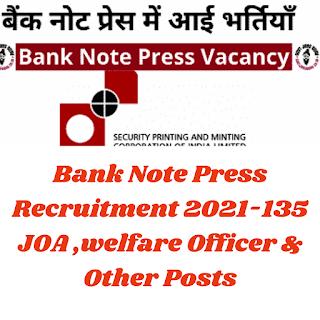 Bank Note Press Recruitment 2021-135 JOA ,welfare Officer & Other Posts