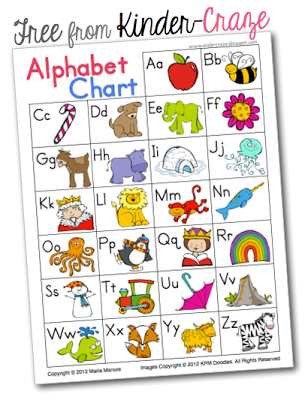 free alphabet chart from Kinder-Craze