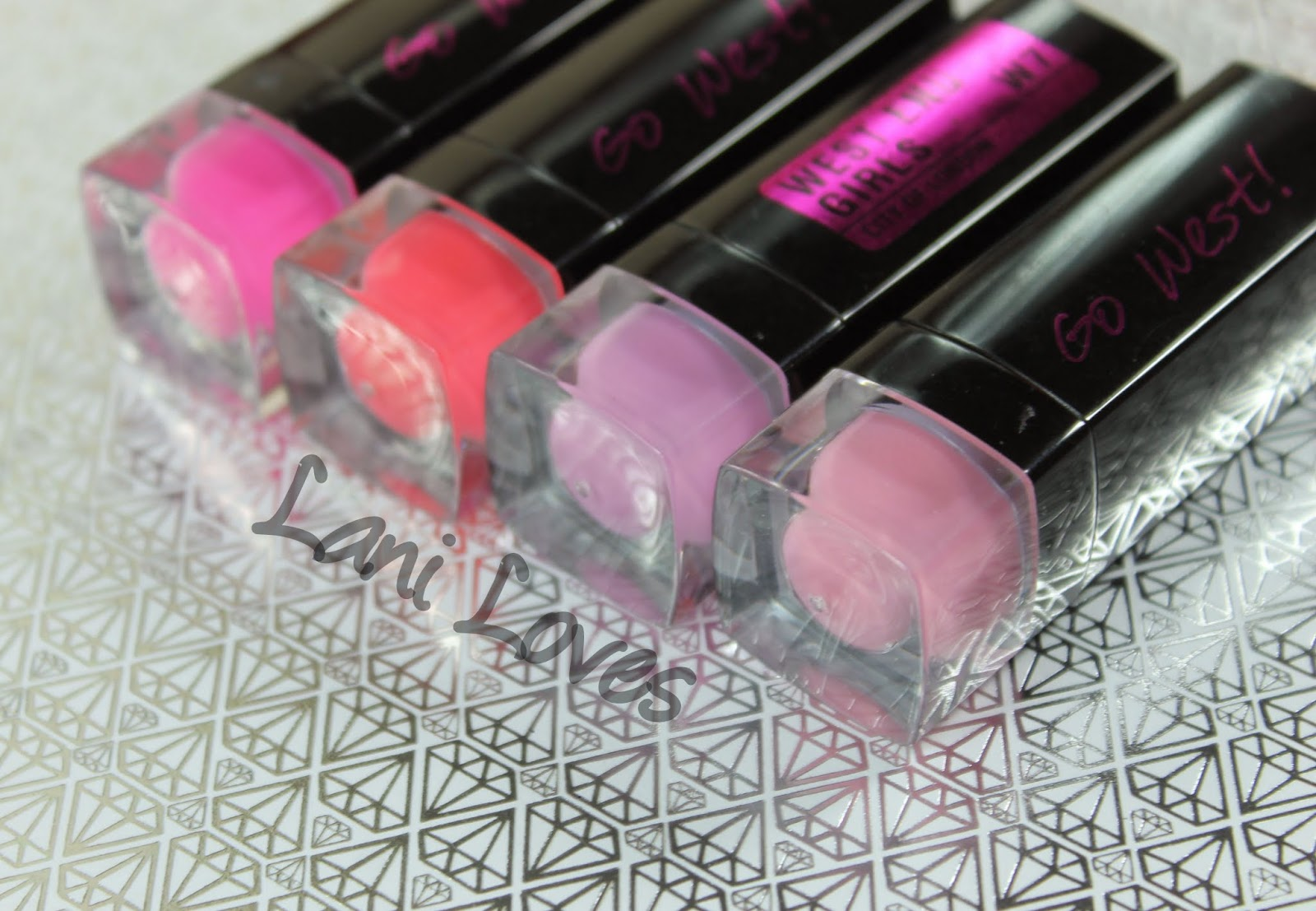W7 Go West! Matte & West End Girls Lipstick - Pink Candy, Powder Pink, Perfect Pink & Impulse Buy Swatches & Review