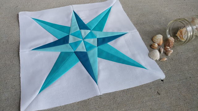 Mariner's Compass block in solid aquas for the QAL By the Sea