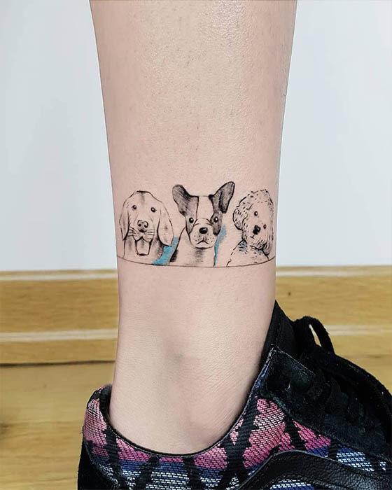 tatuaje de mascotas en la pierna