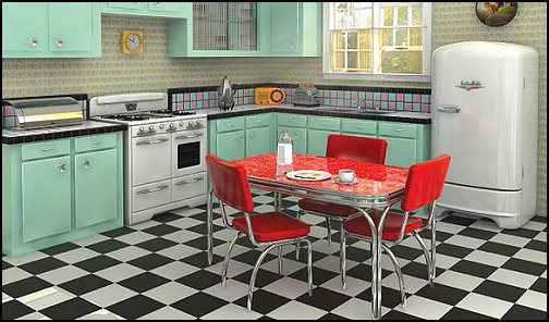 50s bedroom ideas - 50s theme decor - 1950s retro decorating style - 50s diner - 50s party decorations - 1950 bedding - 50s telephone - retro diner furniture - vintage advertising wall decals - Cadillac Wall Shelf - Elvis Presley - booth dinette decor - Rock and Roll