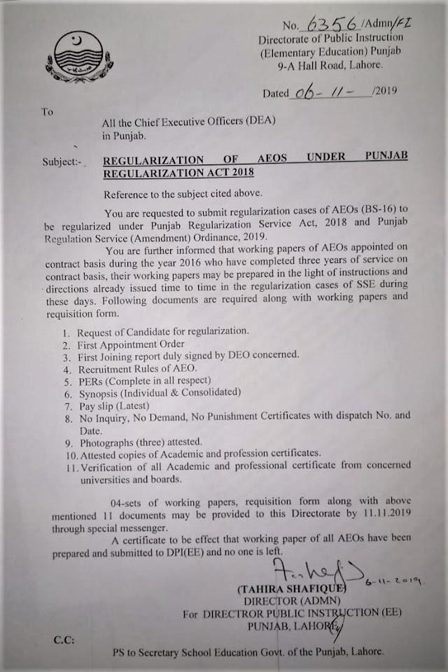 REGULARIZATION OF AEOs UNDER PUNJAB REGULARIZATION ACT 2018