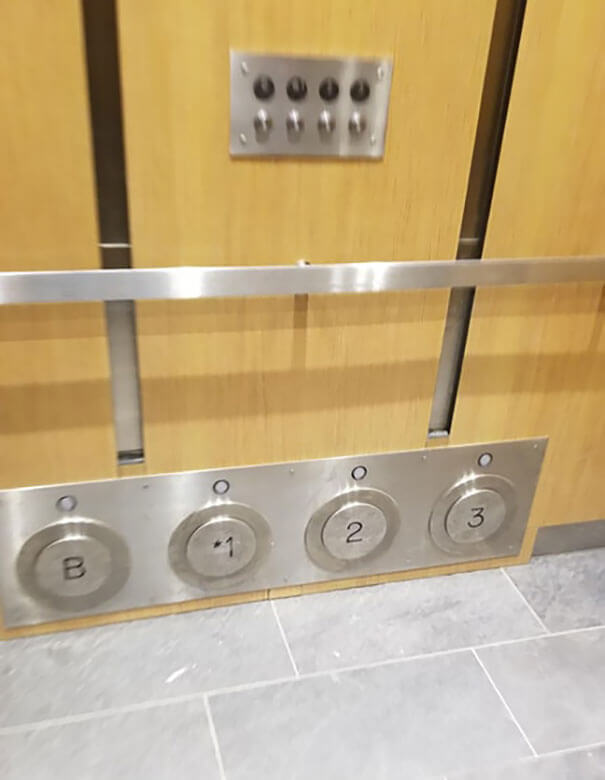 20 Brilliant Ideas That Should Become Reality Everywhere - This Elevator Has Buttons You Can Kick