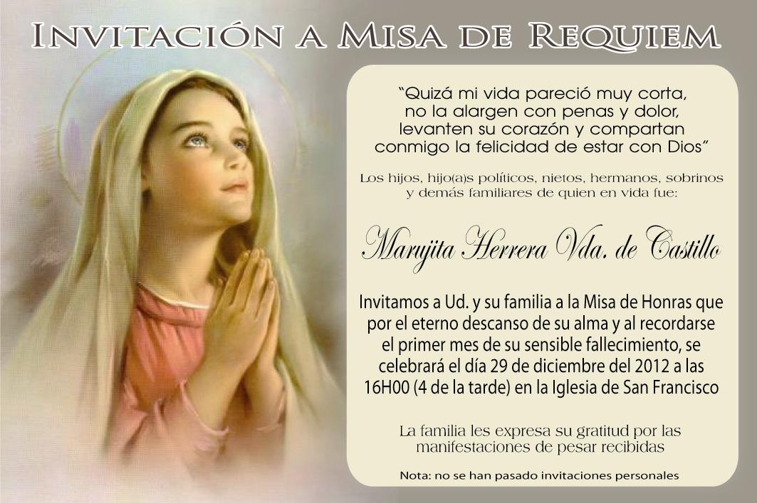 A Mi Inolvidable Madre Invitación Misa Del Primer Mes