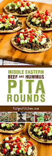 Middle Eastern Beef and Hummus Pita Rounds found on KalynsKitchen.com