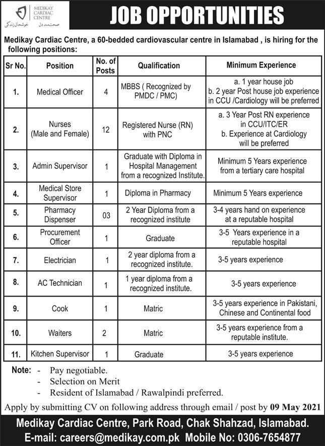careers@medikay.com.pk - Medikay Cardiac Centre Islamabad Jobs 2021 in Pakistan