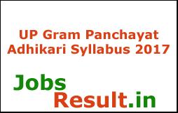 UP Gram Panchayat Adhikari Syllabus 2017