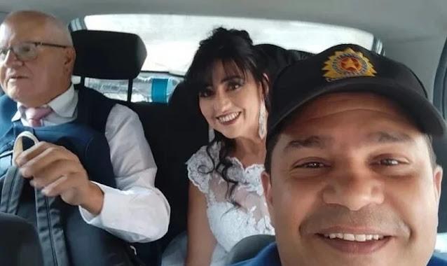 'Coloquei louvor para acalmar', diz policial que levou noivos à igreja após carro quebrar