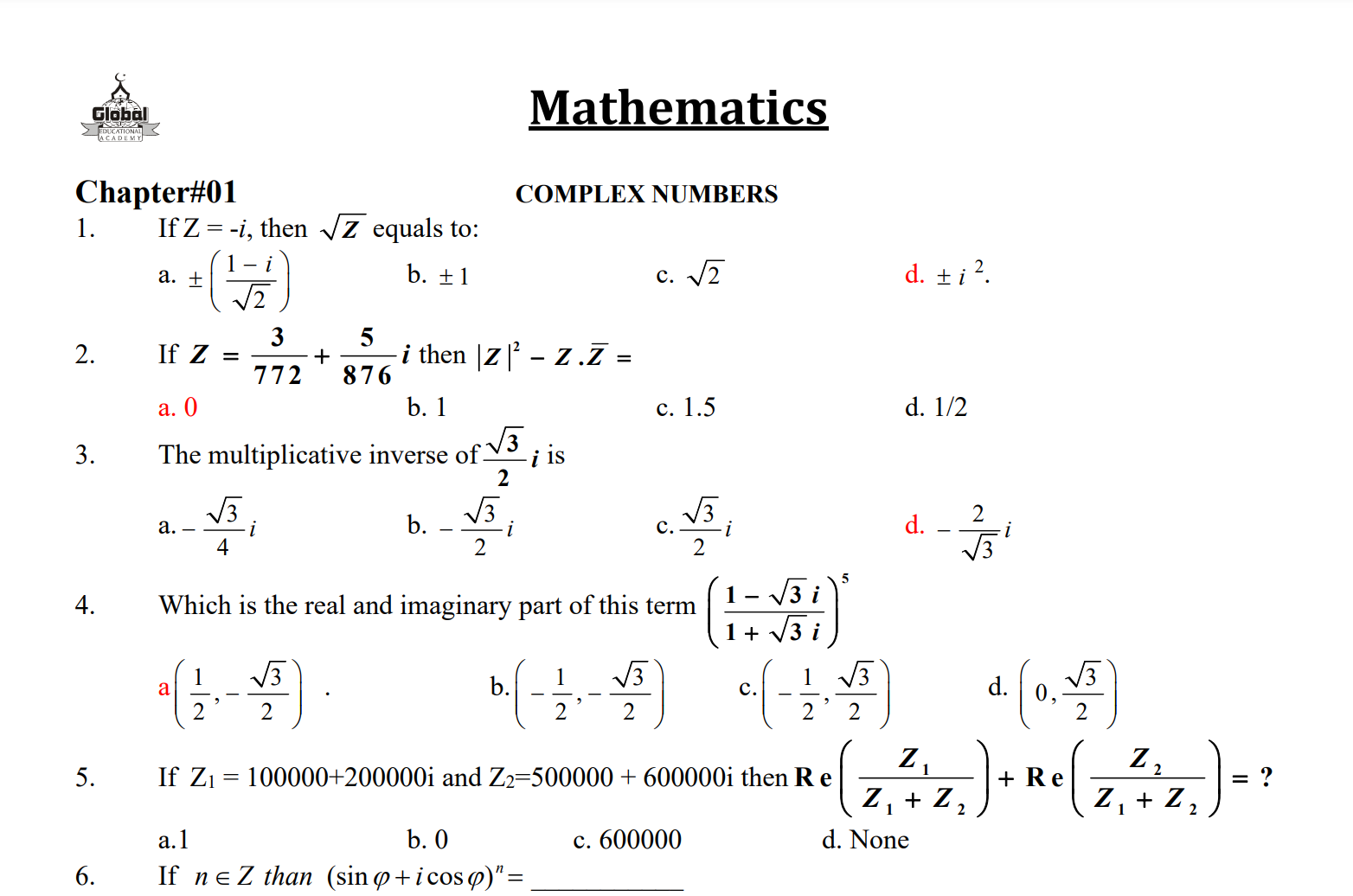 Math MCQs Solved with Answers for Tests NTS, FPSC, PPSC etc. pdf Download