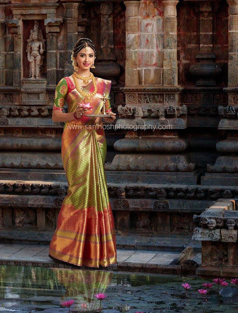 Model in Heavy Bridal Silk Saree