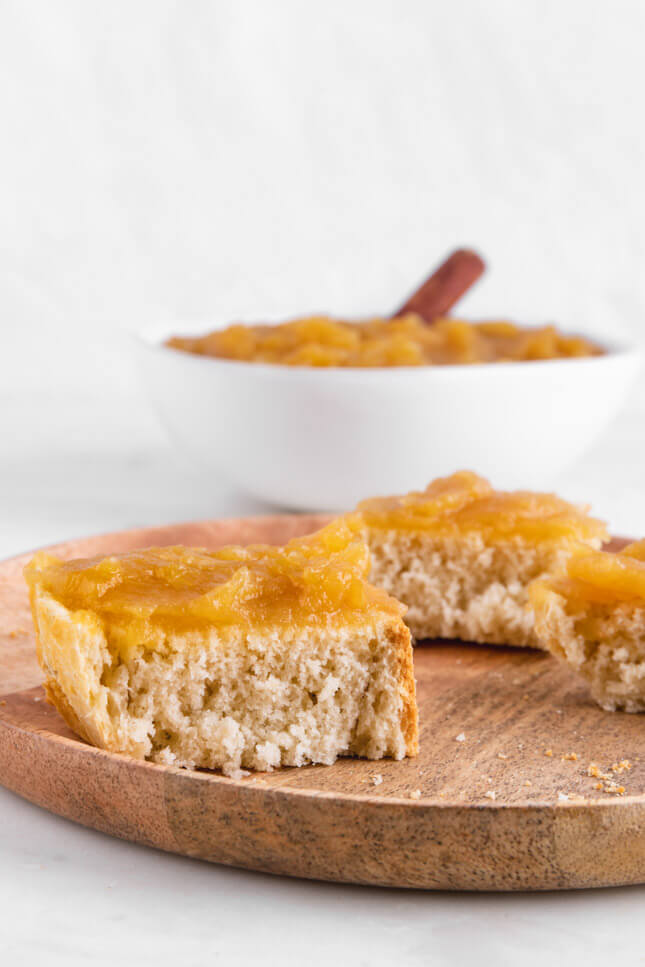 Photo of two pieces of bread smeared with applesauce