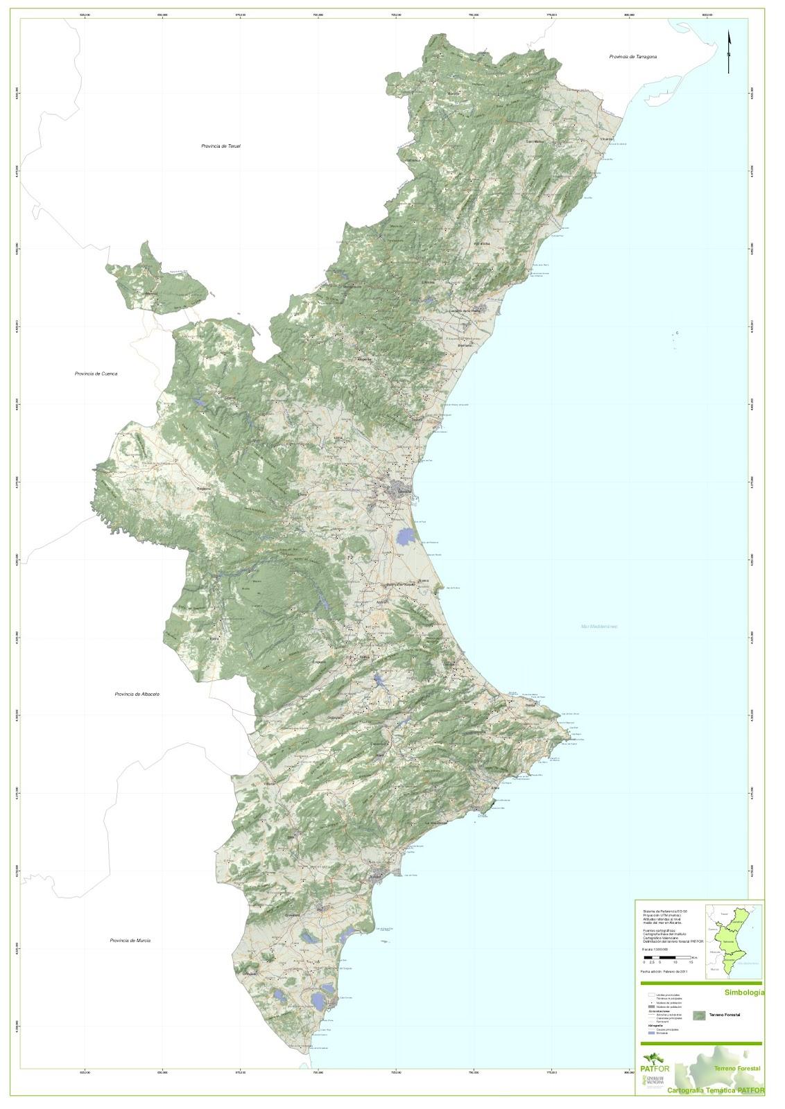 Mapa Fisico Comunitat Valenciana.Forestry News