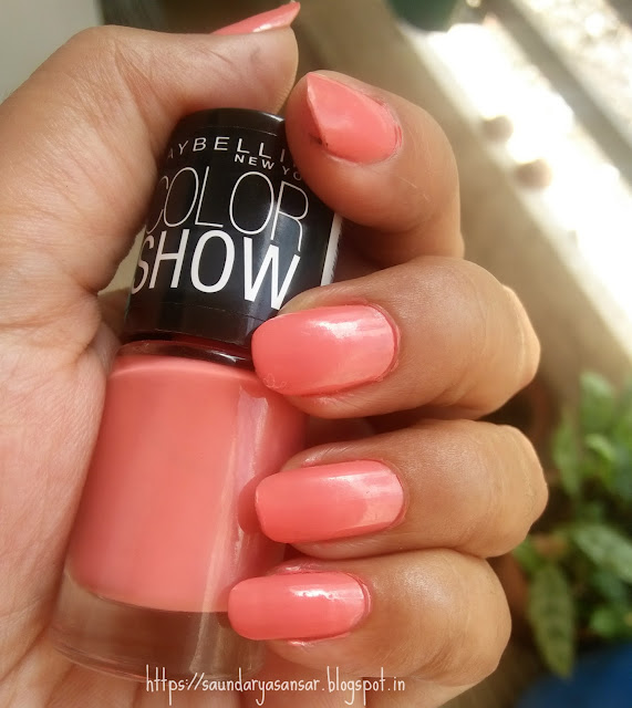 Maybelline Color Show nail enamel- Coral Craze Review, swatches