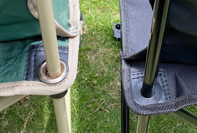 ダイソーのコンパクトチェアとコールマンのコンパクトクッションチェアとの比較 座面後ろの部分